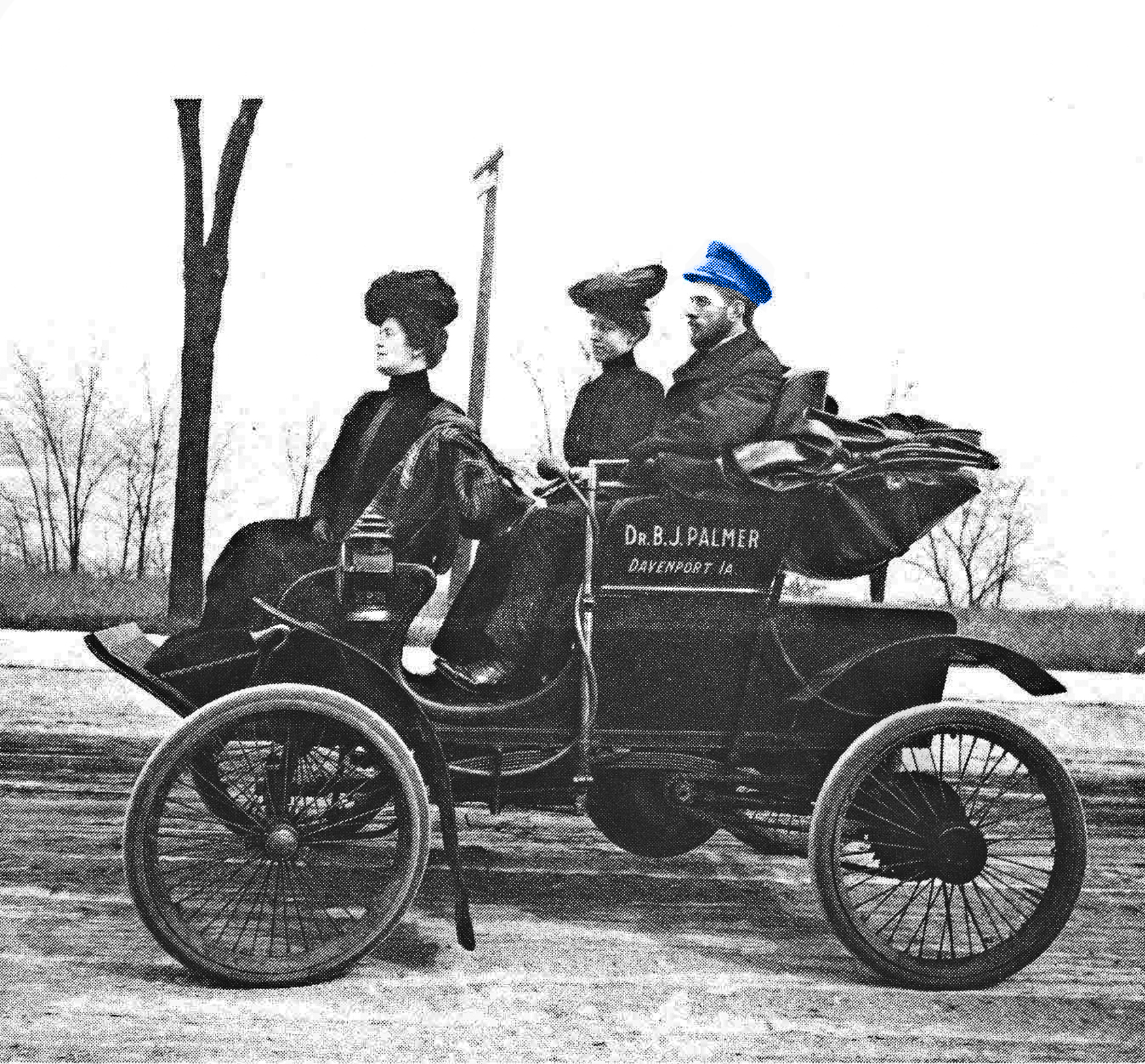BJ Palmer in his new automobile.