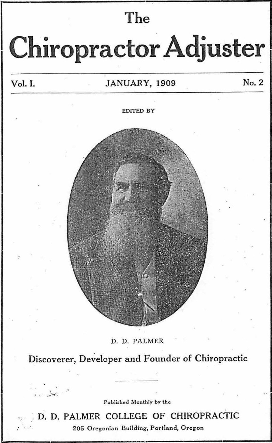 DD Palmer second issue of The Chiropractor Adjuster. A source for one of DD Palmer's books.