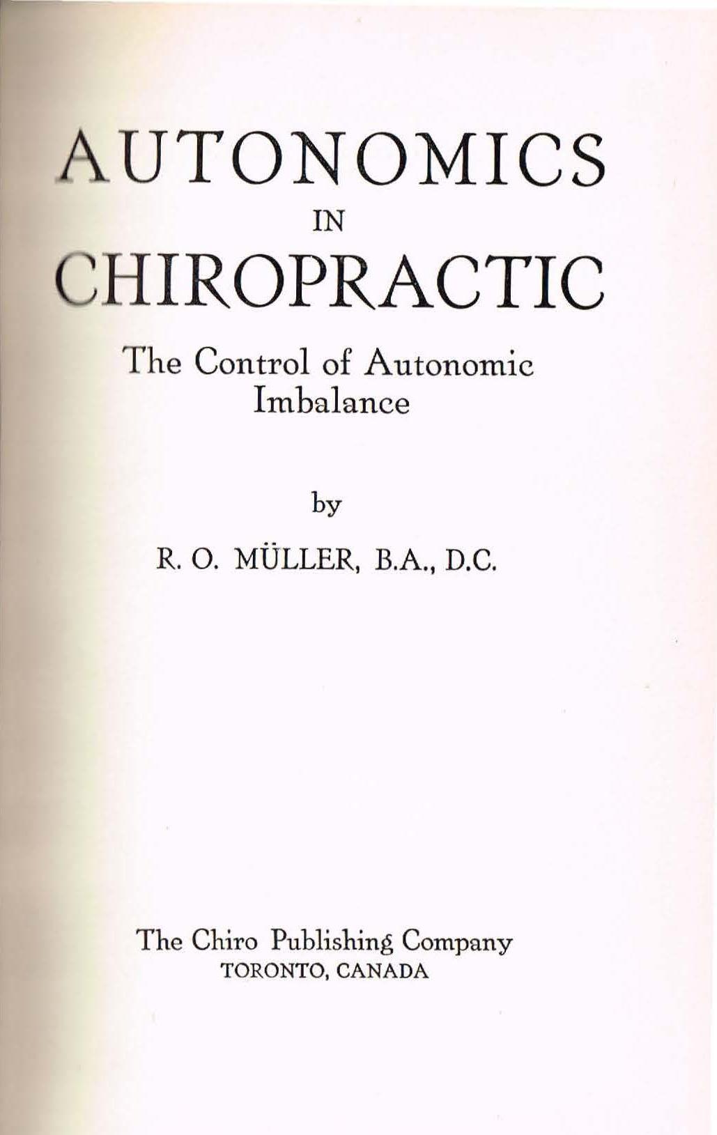 Muller's Autonomics in Chiropractic (1954)