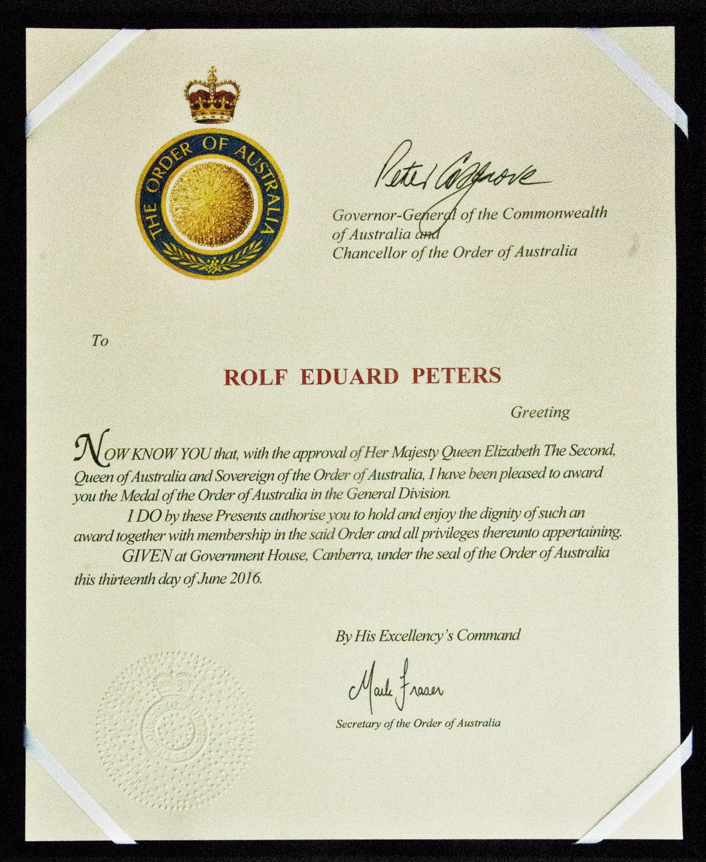 Award Letter from the Governor General of Australia